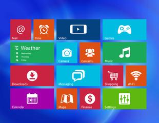 Set of 16 icons. Metro style background