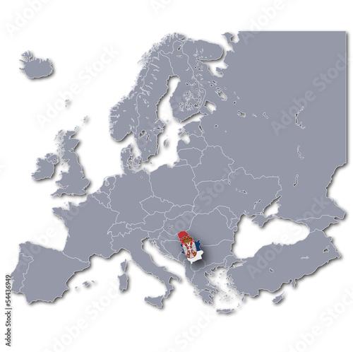 Europakarte mit Serbien