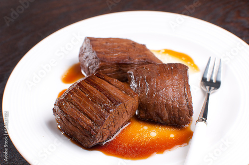 Pieces of beef flank steak