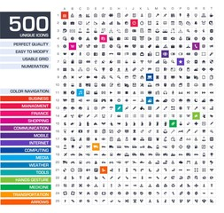 500 icons set. Vector black pictograms.