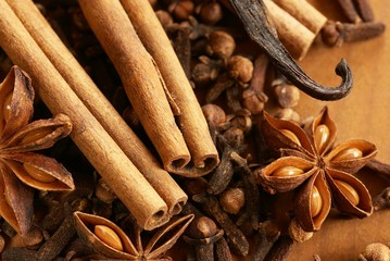 Close-up of cinnamon sticks, anise, cloves and vanilla bean