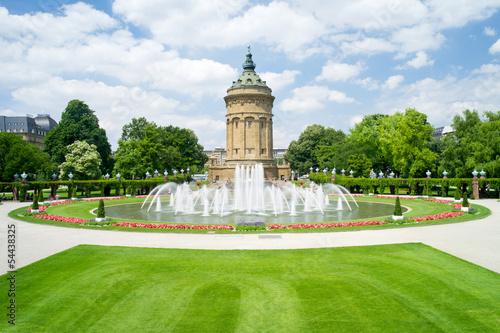 canvas print picture Mannheim Wasserturm am Friedrichsplatz