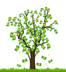 Tree overgrown with money. Business success