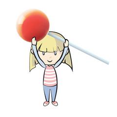 Girl holding a red lollipop. Vector design.