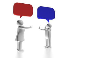 Man und Frau streiten - abstrakt Sprechblasen