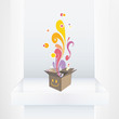 Cute box on shelf. Vector design
