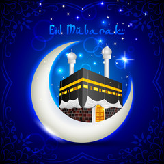vector illustration of Eid Mubarak with Kaaba on moon
