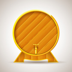 vector illustration of wooden barrel with tap