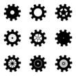 Black mechanisms on a white background