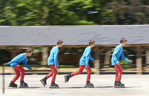 driving with roller blades