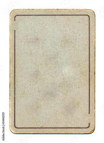ancient isolated playing card paper empty  background with line