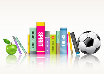 Row of colorful books, soccer ball and green apple