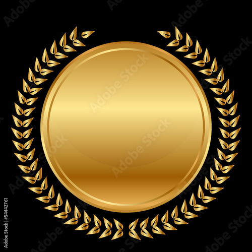 Vector gold medal and laurels on black background