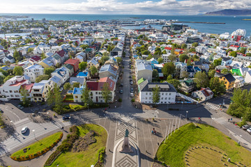 Reykjavik with view on Leif Eriksson Statue, Iceland