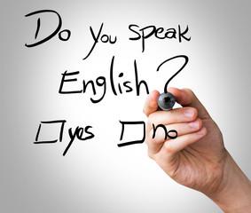 Hand writing Do You Speak English on transparent wipe board