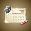 Calendar February 2014, vintage paper note, vector