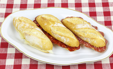 Sausage sandwich, typical Basque cap.