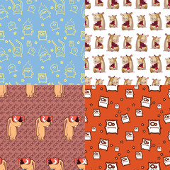 Vector set of seamless patterns with cartoon characters.