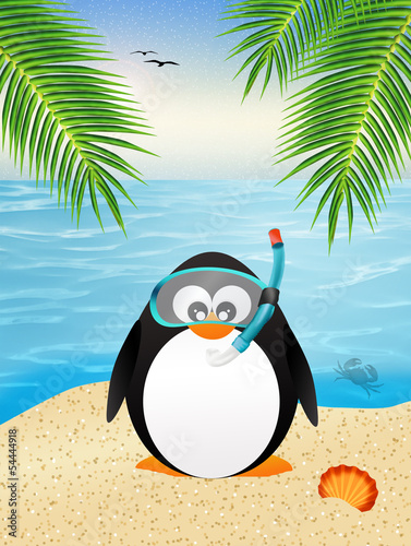 penguin with scuba mask