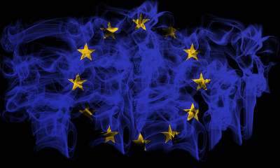 smoking flag of European Union