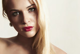 beautiful blond woman with red lips