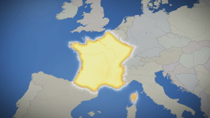 France on map of Europe. Country pull out. Blue