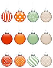 Set Of 12 Retro Christmas Balls