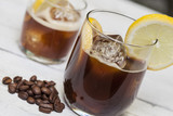 Ice coffee with lemon