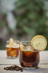 Ice coffee with lemon