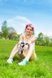 Happy jogger woman