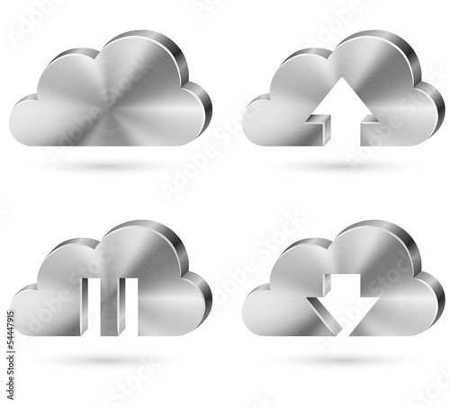 Brushed metal cloud icon vector set.