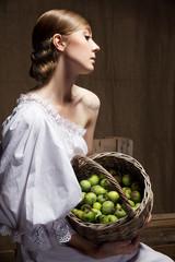 Portrait of  woman in Wedding dress. Professional makeup