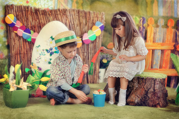 a fabulous farm with yellow tulips boy and girl playing with a c