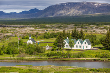 Þingvellir - view of church and houses, Iceland
