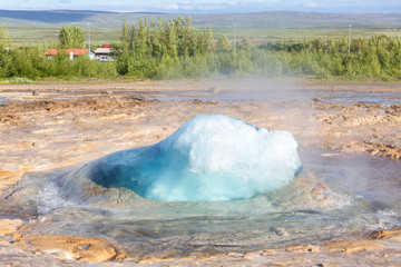 Geysir Strokkur shortly before explosion, Iceland