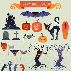 Happy Halloween elements and icons set for design.