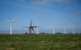 Dutch windmill and wind turbines