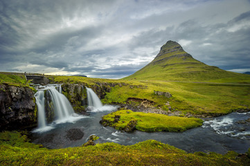 Kirkjufellsfoss waterfall and Kirkjufell mountain, Iceland