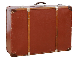 Vintage suitcase isolated on white background