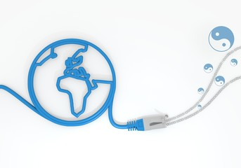 discount symbol with network cable and world symbol