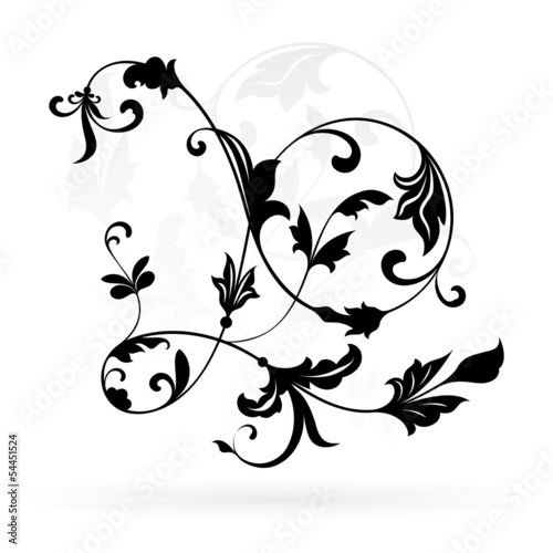 Vintage floral design element isolated on white background.