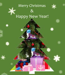 Card in  shape of Christmas tree
