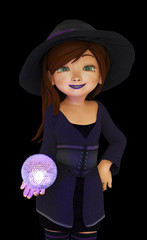 sweet witch holding a magic ball