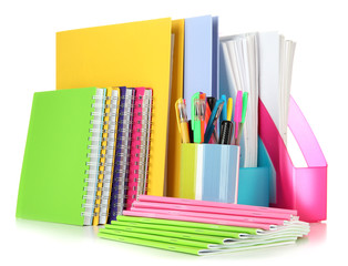 Bright office folders and different stationery isolated on