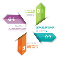Infografica esempi frecce colorate numeri