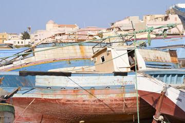 Clandestine boat in Lampedusa