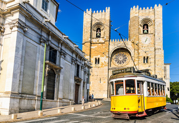 Historic yellow tram of Lisbon, Portugal