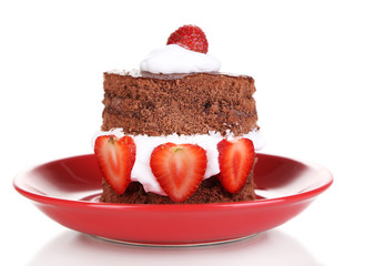 Chocolate cake with strawberry isolated on white