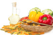 pasta fusilli in basket  with cooking ingredients