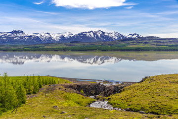 Reflections at Lagarfljót, Iceland